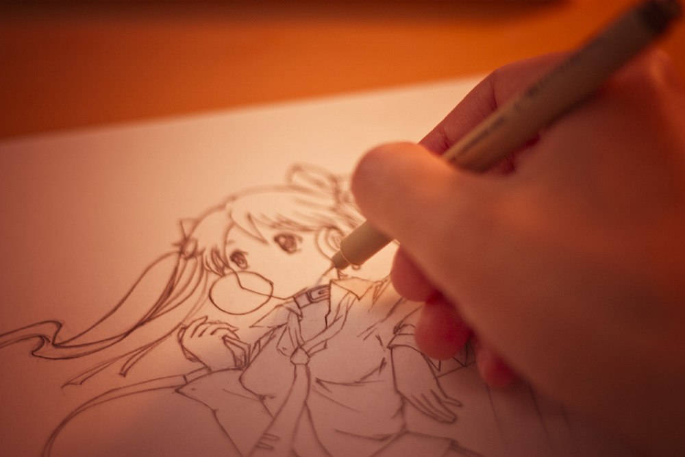 A photo of me inking