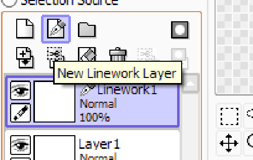A screenshot of the Linework Layer in Easy Painter Tool Sai